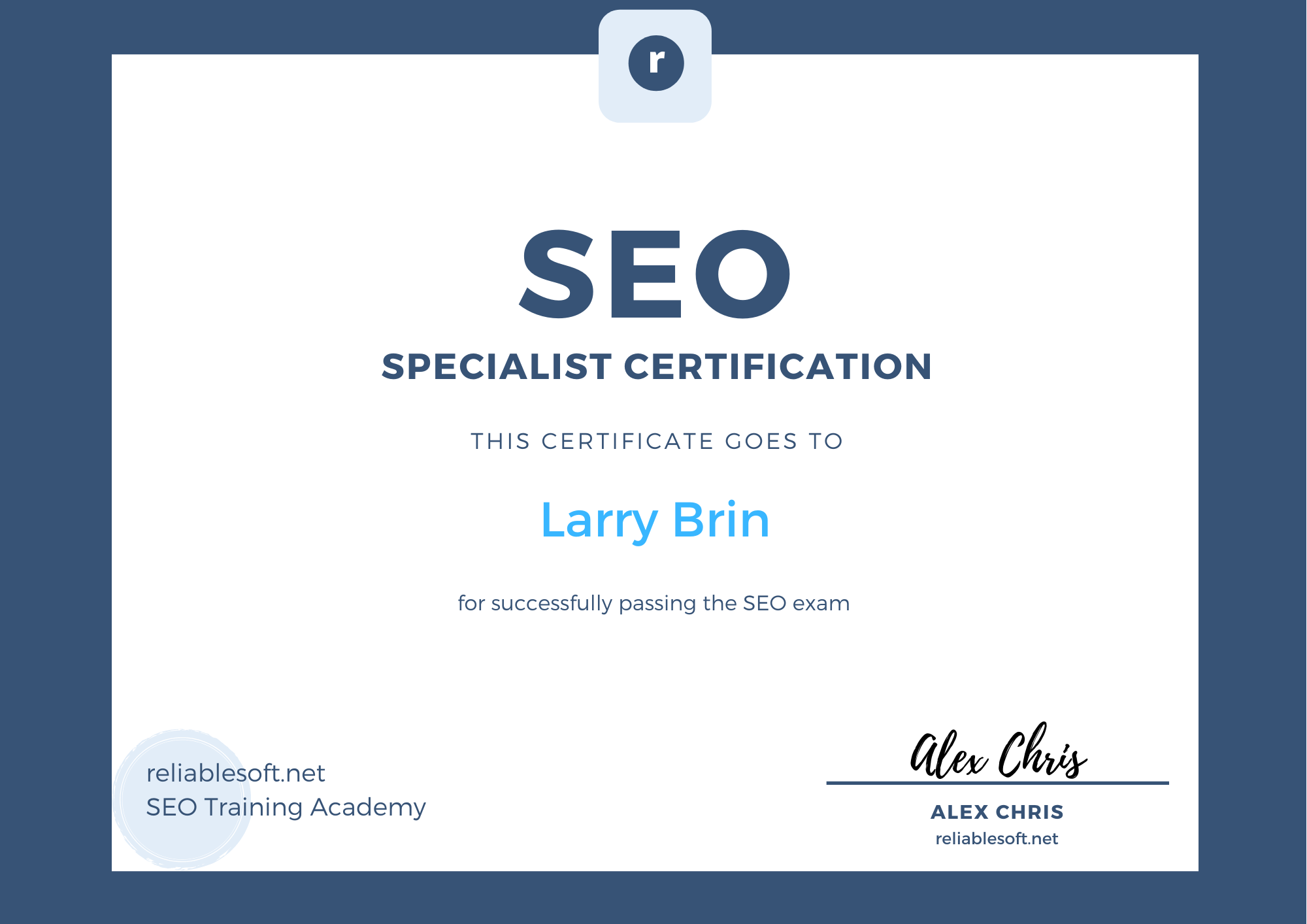 seo certification course reliablesoft earn certificate exam complete pass includes finish ll final