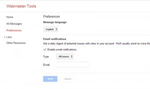 Email settings in Google Webmaster tools - Click to enlarge