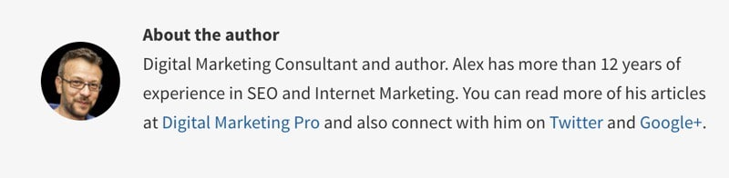 SEO Friendly author bio