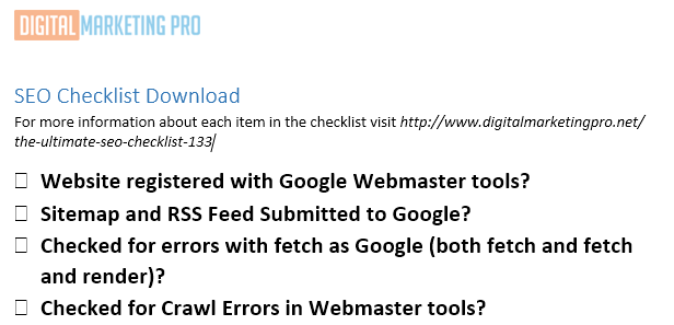 Download our SEO Checklist