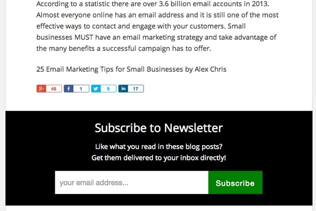 email subscriber box