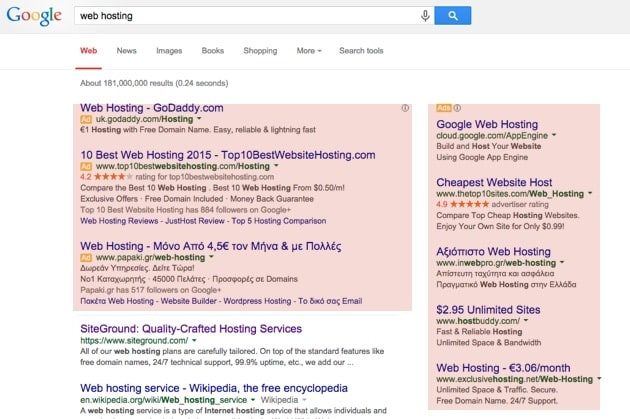 adword ads on google serps