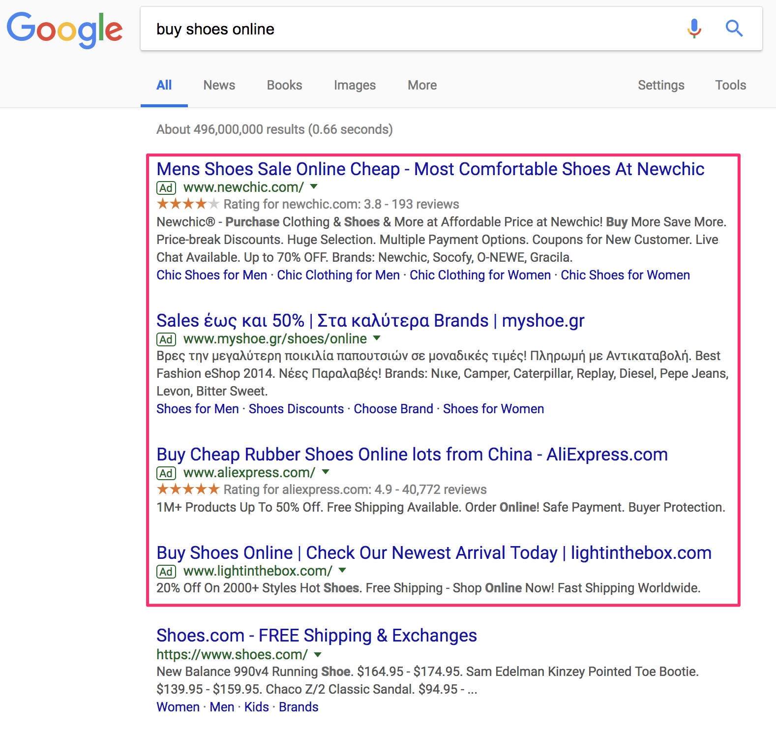 Adwords Ads in Google Search Results