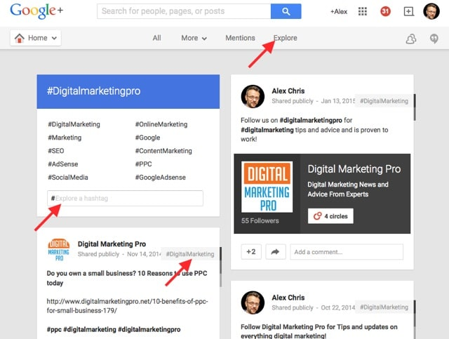 hashtags on google plus