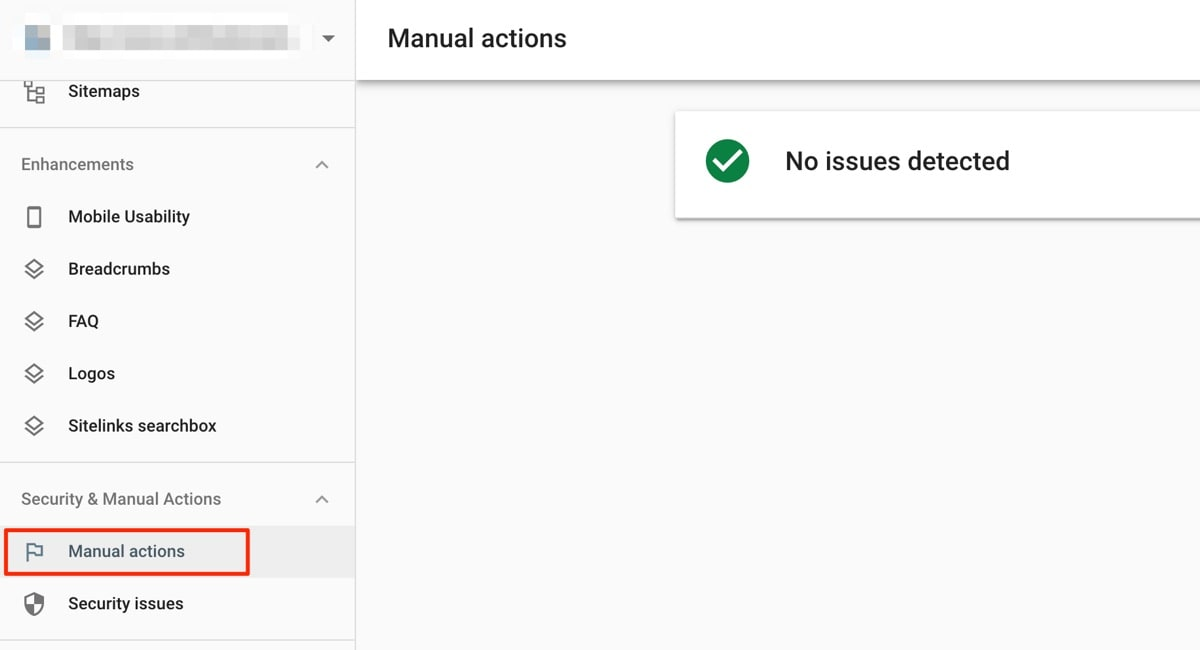Manual Actions Report - Google Search Console