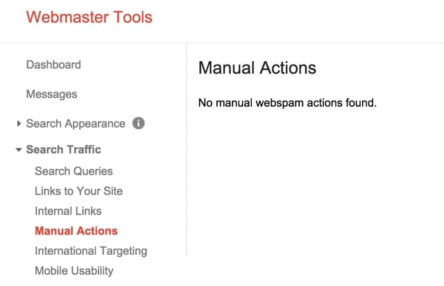 manual google penalties in webmaster tools