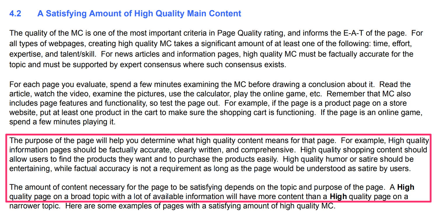 Google Guidelines on Content Length
