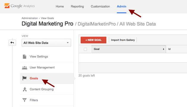 creating goals in google analytics