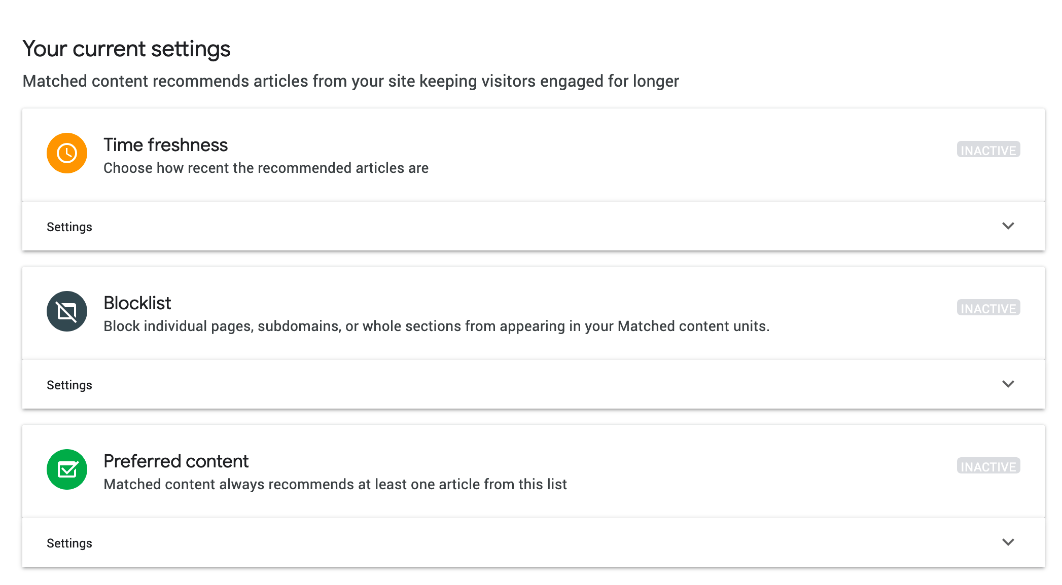 Adsense Matched Content Ads Settings