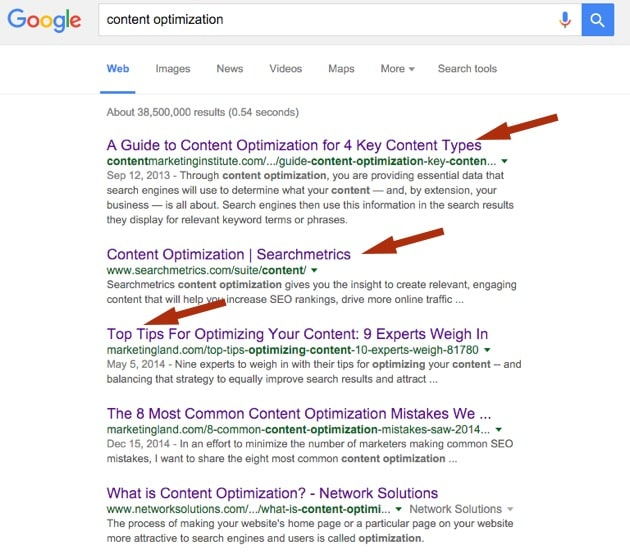content optimization - titles