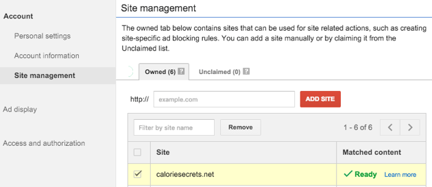 Check if your website is approved for adsense matched content