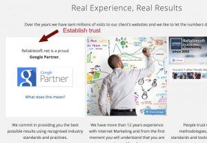 homepage trust factors