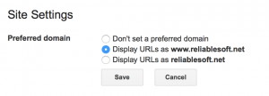 Set preferred domain - Google search console