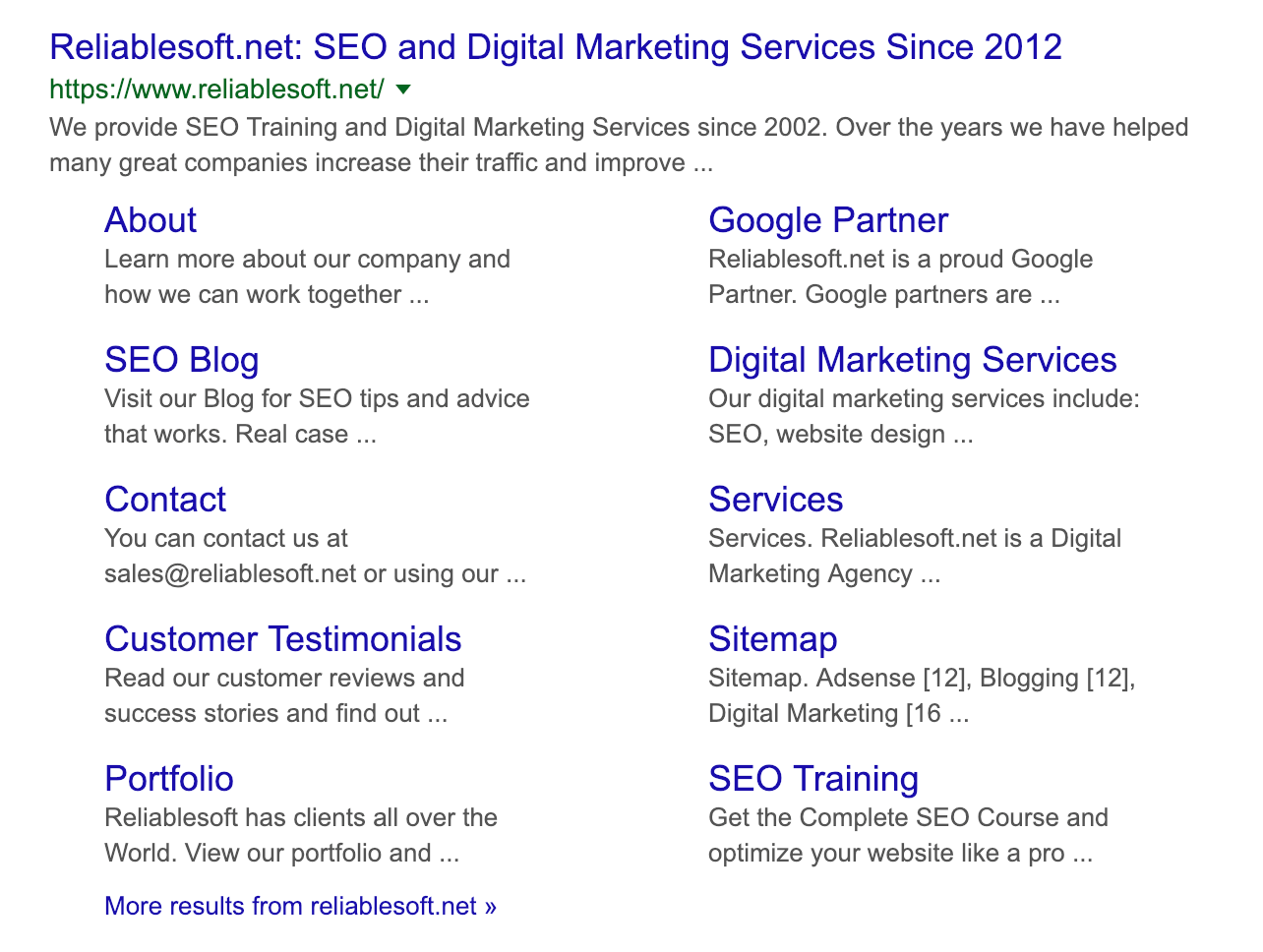 Sitelinks in Google Search Results