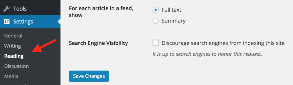 WordPress search visibility settings