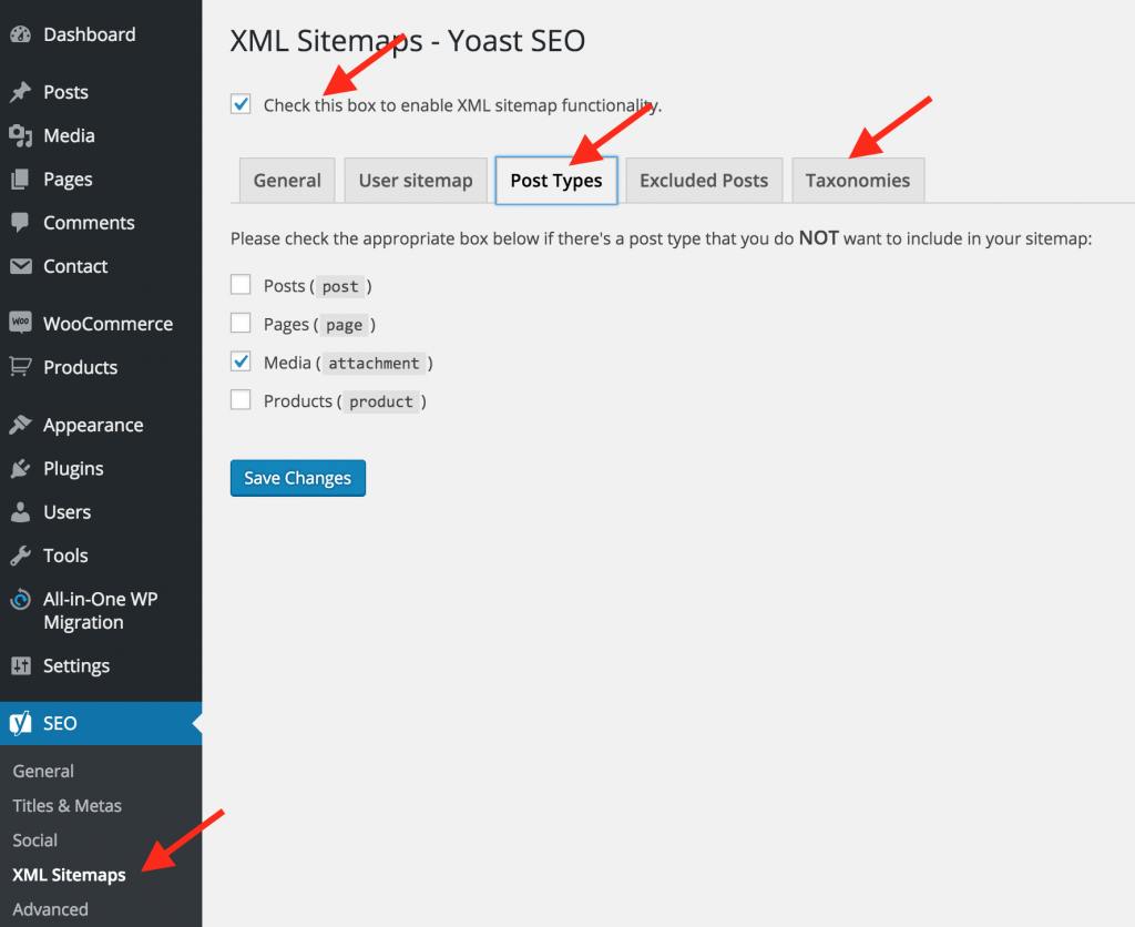 Yoast Sitemap Settings