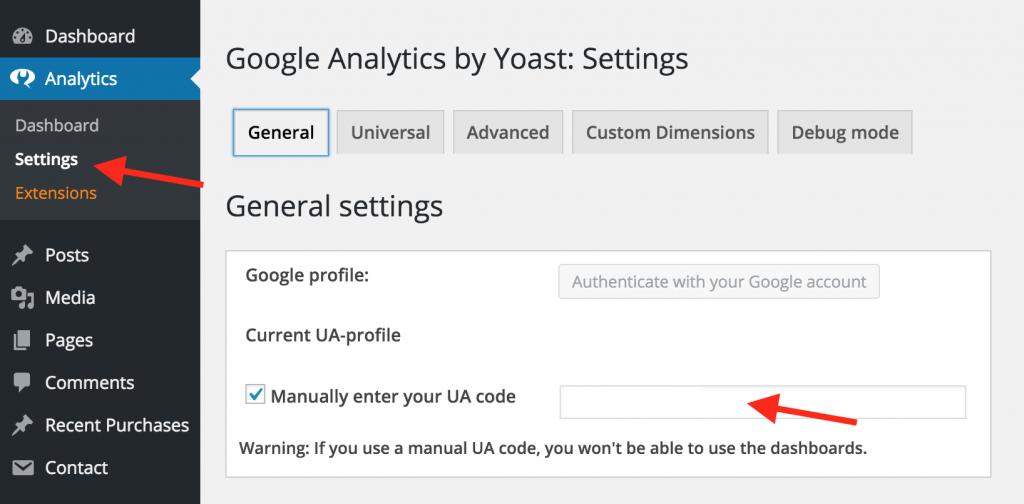 Google analytics - Yoast Settings