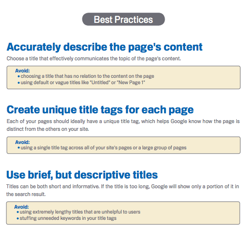 SEO your page titles example