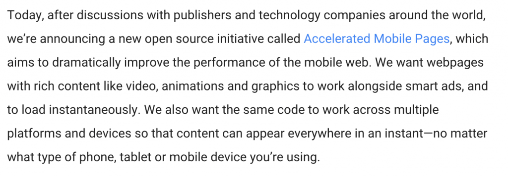 Accelerated Mobile Pages Definition