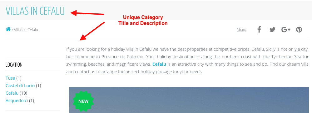 Destination Pages SEO Example