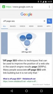Featured snippets in mobile