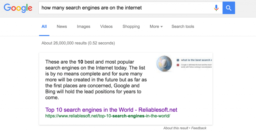 Featured snippet example 1
