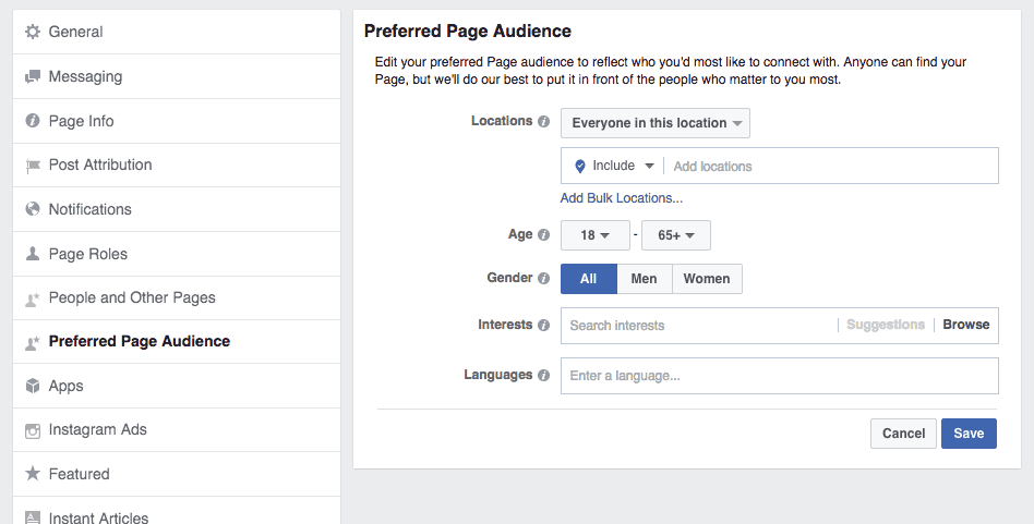 Facebook Preferred Page Audience