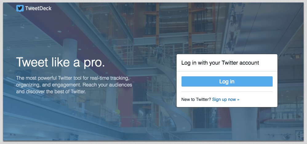 tweetdeck landing page