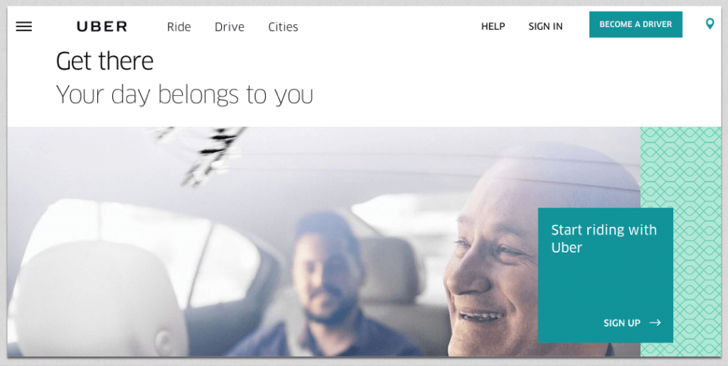 uber landing page example