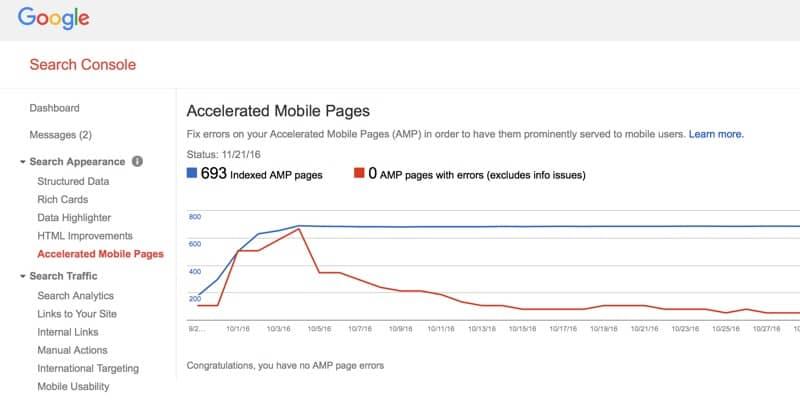 AMP Errors Report in Google Search Console