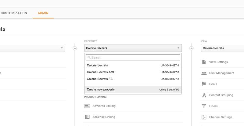 Create New Property in Google Analytics