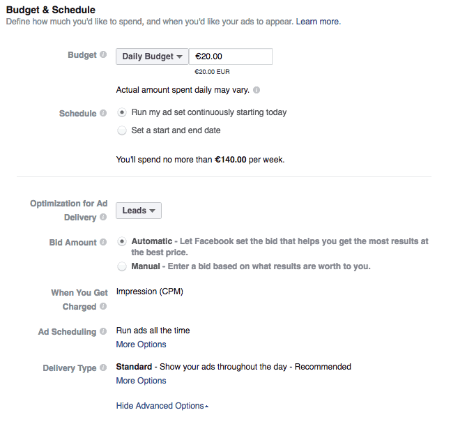 Facebook budget and scheduling options in ads