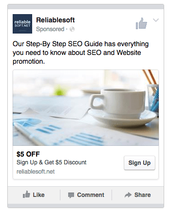 Facebook Lead Ad Example