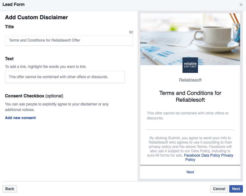 Facebook Lead ads custom disclaimer