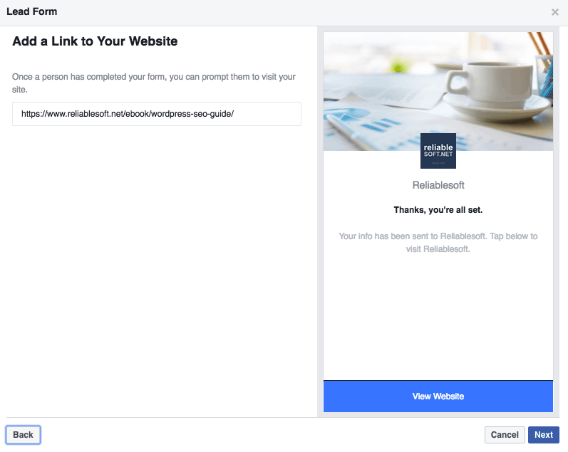 Facebook lead ads final step
