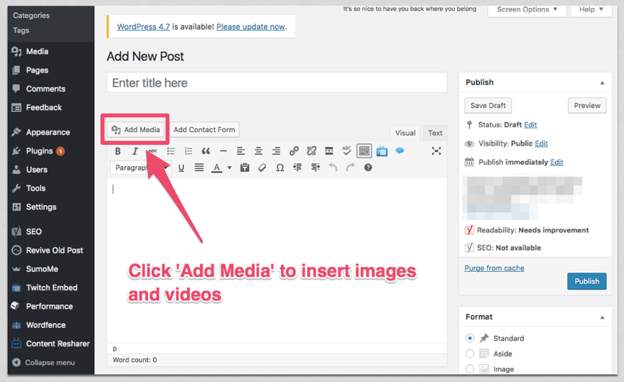 add images to wordpress posts