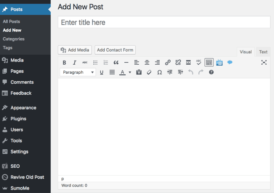 create new wordpress post