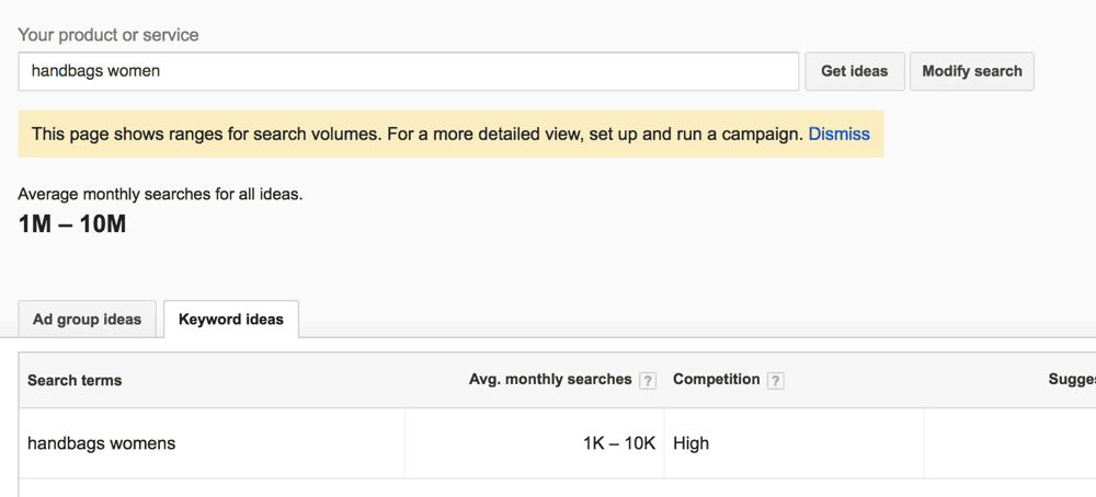 google keyword tool - no active campaigns
