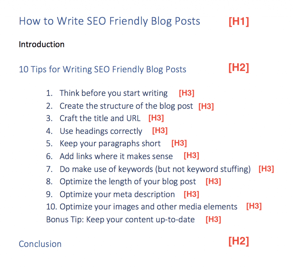 seo optimized headings example