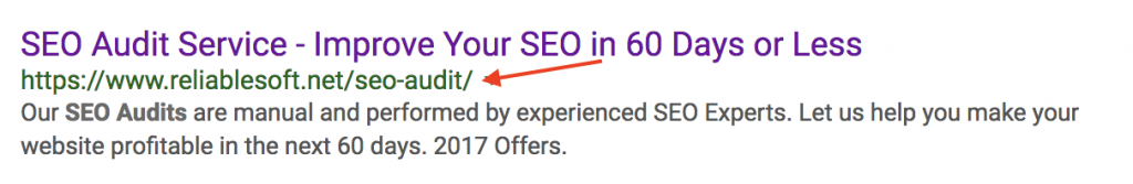 Example of SEO Friendly URL in SERPS