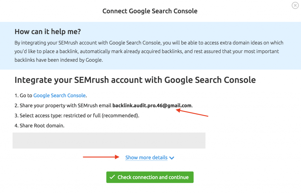 connect semrush with google