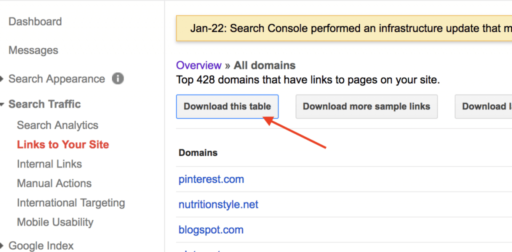 download all links google search console