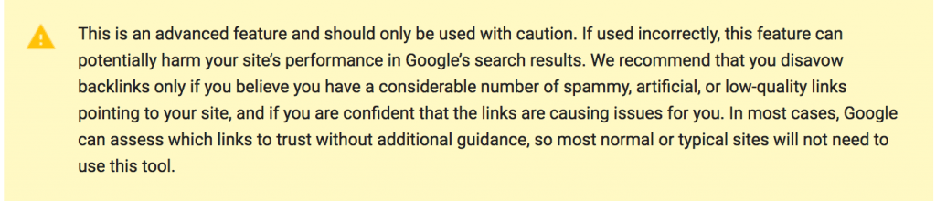 google disavow tool warnings