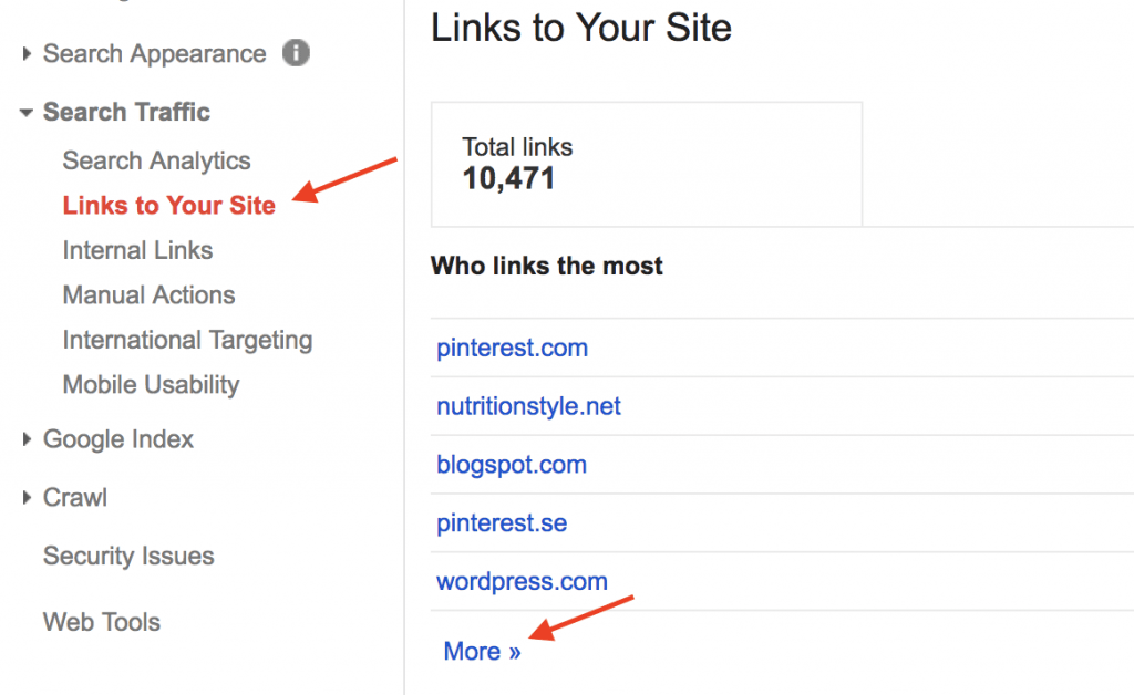 links to your website google search console