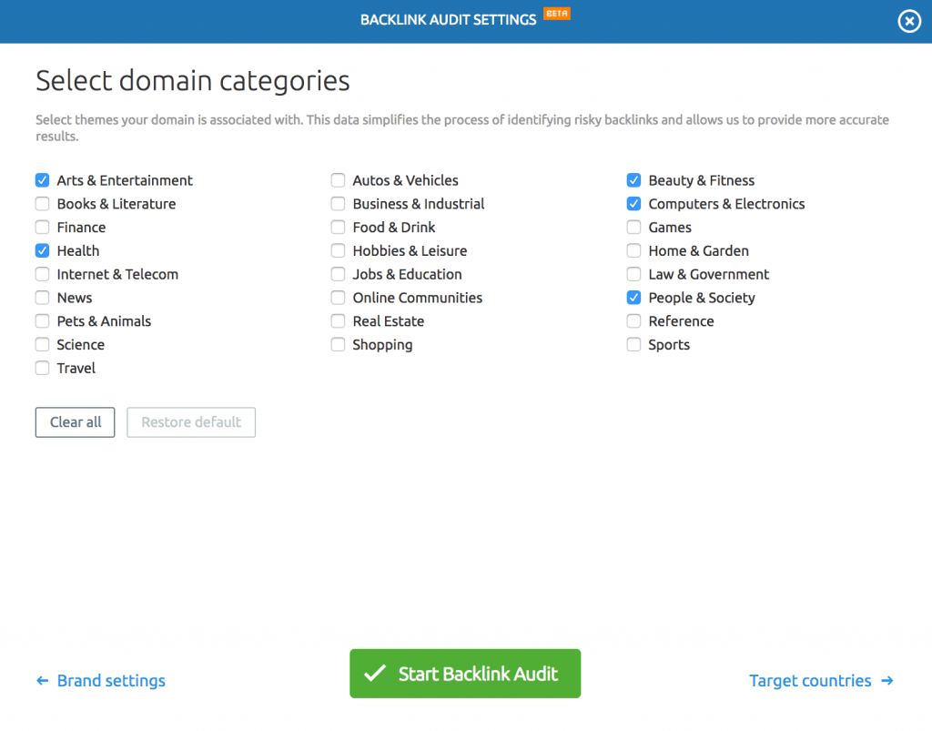 semrush backlink categories