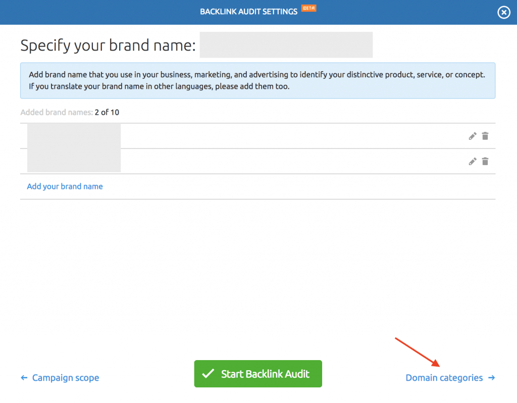semrush brandname settings