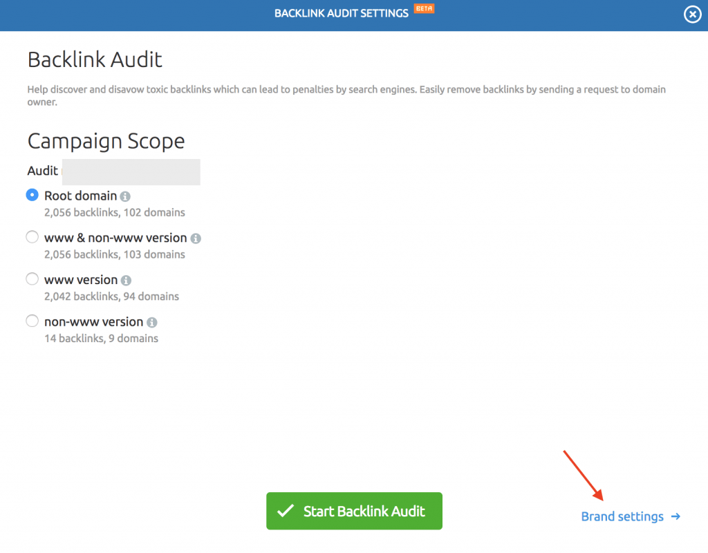 semrush backlink campaign settings