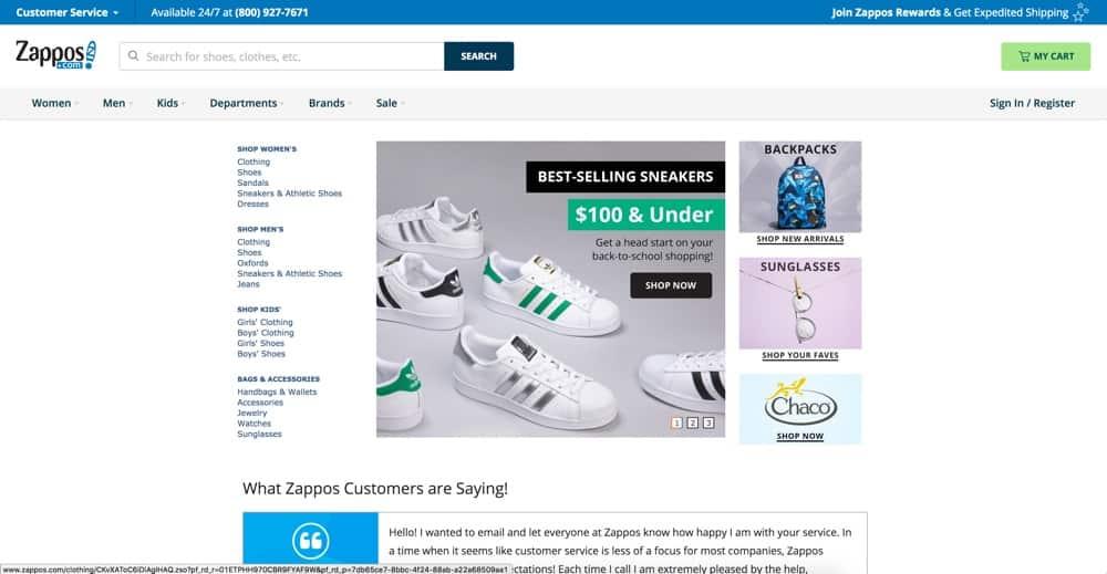 Shop SEO - Zappos Example