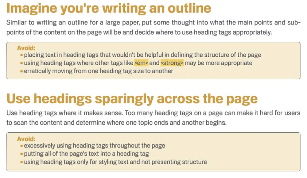 SEO Guidelines for use of headings