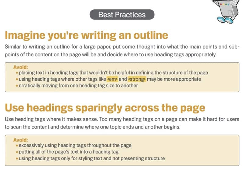 use of headings best practices